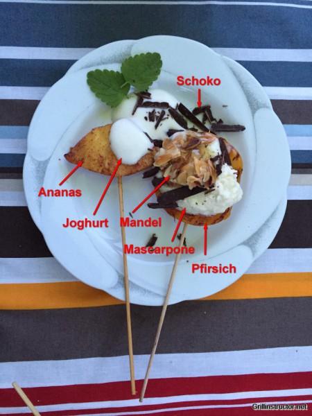 Beschwipstes Früchte-Zweierlei mit Limetten- Mascarpone und -Joghurt ganiert mit Mandeln und Schokosplittern (2)